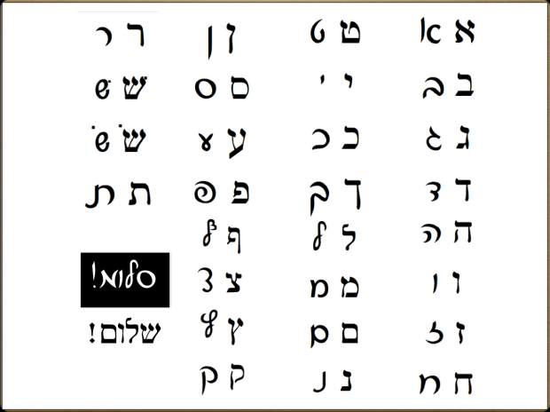 Comparison Block-Script Hebrew Chart