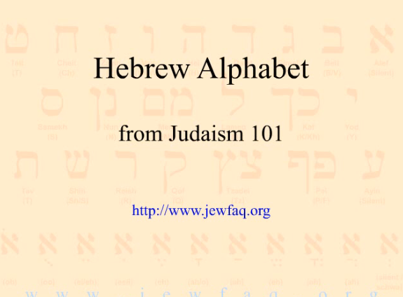 Hebrew Alphabet JEWFAQ