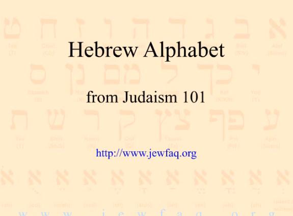 Hebrew Alphabet JEWFAQ