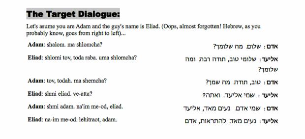 Conversational Hebrew Lesson 1